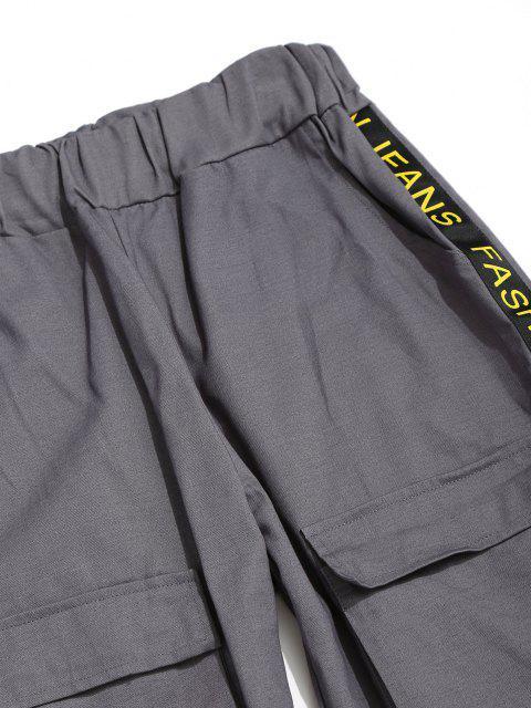 Pantalones con Correa Estampada de Letras - Gris Ceniza L Mobile