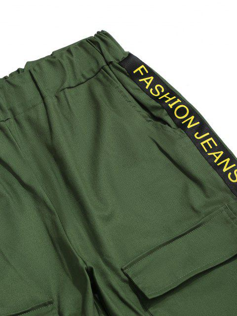 chic Letter Print Strap Streetwear Cargo Pants - MEDIUM SEA GREEN L Mobile