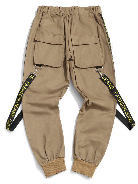Pantalones con Correa Estampada de Letras - café luz 2XL Mobile