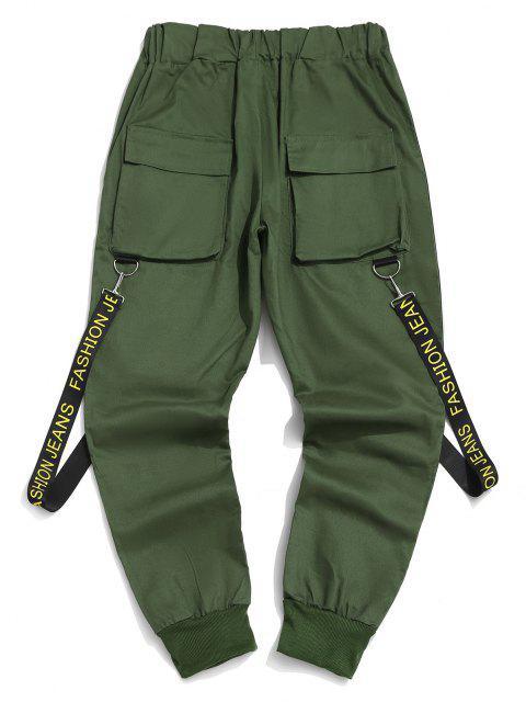 Pantalones con Correa Estampada de Letras - Mar Verde Mediana 2XL Mobile