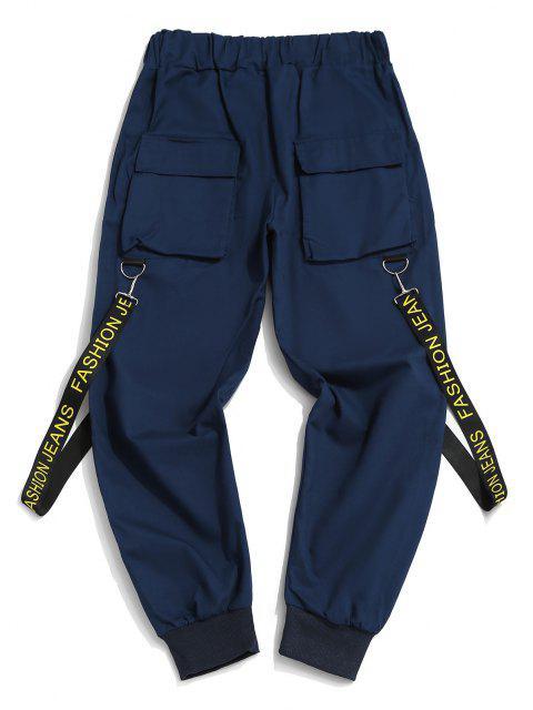 Pantalones con Correa Estampada de Letras - Azul Oscuro de Denim XL Mobile