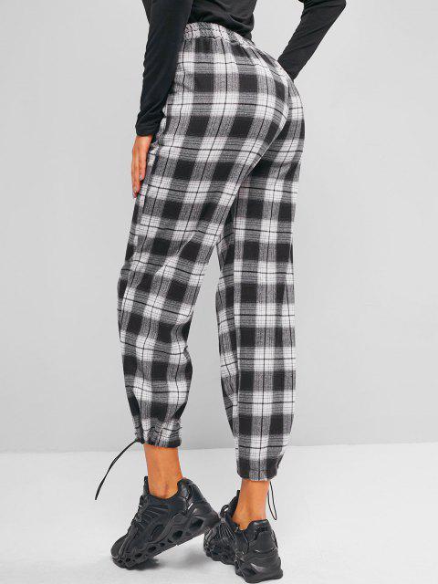 buy Plaid Pocket Toggle Drawstring Pants - MULTI-A L Mobile