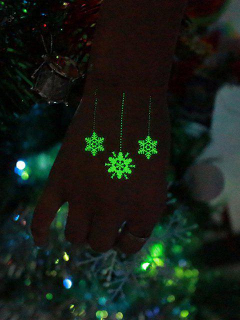 lady Christmas Snowflake Print Luminous Tattoo Stickers - LIGHT GREEN  Mobile