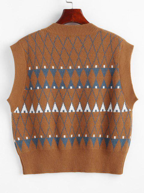 buy Geo Graphic Sweater Vest - COFFEE ONE SIZE Mobile