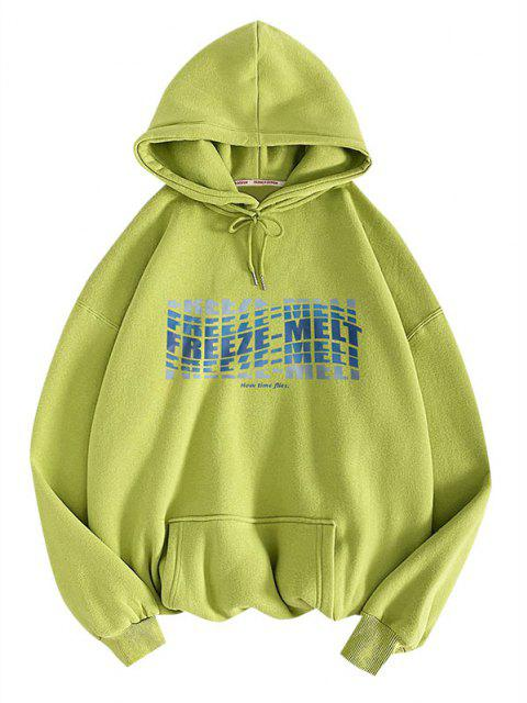 women Freeze-melt Slogan Pattern Pullover Hoodie - LIGHT GREEN 2XL Mobile