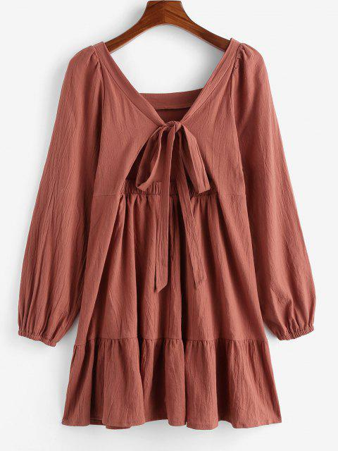 trendy Long Sleeve Tie Cut Out Back Casual Dress - COFFEE L Mobile