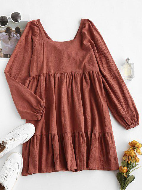 shops Long Sleeve Tie Cut Out Back Casual Dress - COFFEE S Mobile