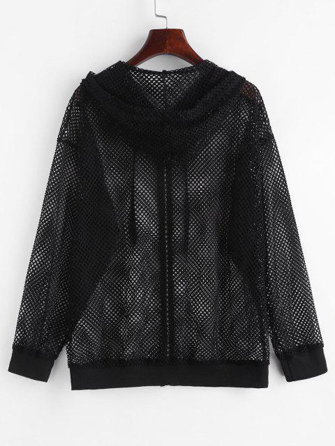 Hooded Zip Up Fishnet Mesh Jacket - أسود S Mobile