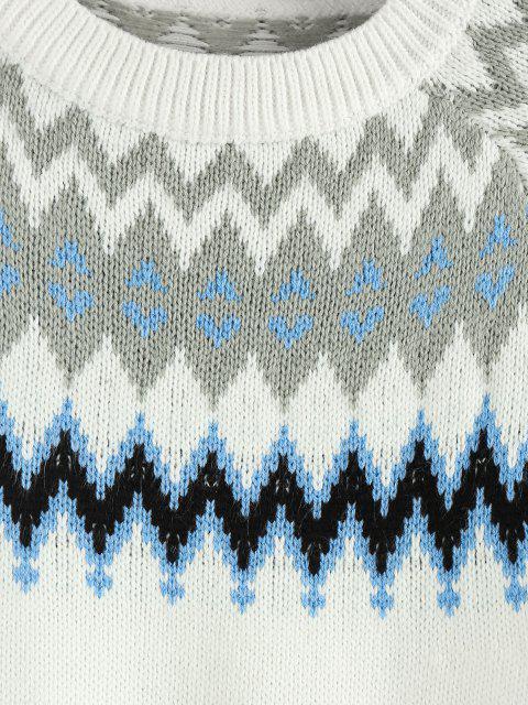 ZAFUL Zickzack Raglan Ärmel Lässiger Pullover - Weiß L Mobile