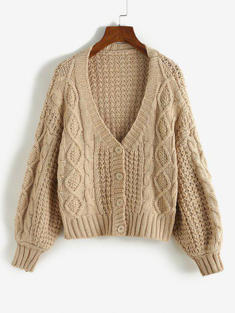 chic Cable Knit Lantern Sleeve Crop Chunky Cardigan - LIGHT COFFEE ONE SIZE Mobile