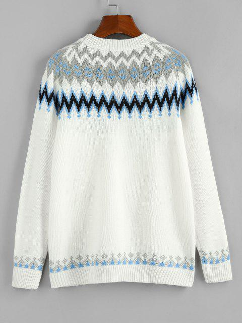 womens ZAFUL Zig Zag Raglan Sleeve Casual Sweater - WHITE M Mobile