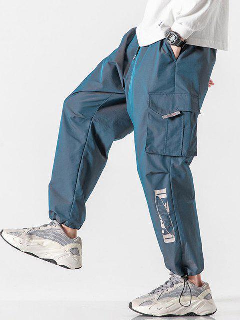 Pantalones Cintura Elástica con Estampado de Letras Reflexivas - Azul Océano  L Mobile