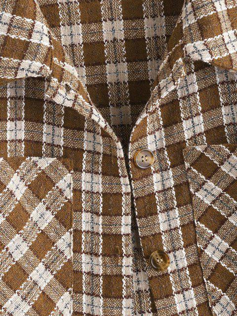 best Metallic Thread Plaid Tweed Dual Pocket Shirt Jacket - DEEP COFFEE XL Mobile