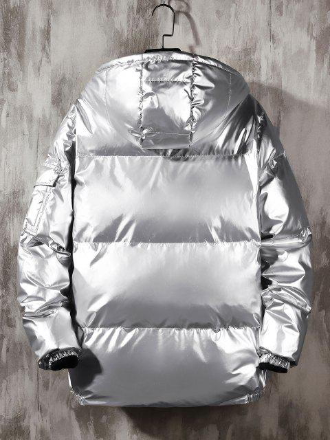 new Hooded Shiny Metallic Puffer Quilted Jacket - SILVER XL Mobile