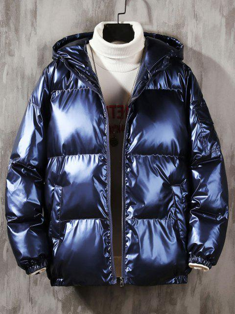 outfits Hooded Shiny Metallic Puffer Quilted Jacket - CADETBLUE 4XL Mobile