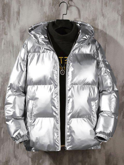 shop Hooded Shiny Metallic Puffer Quilted Jacket - SILVER 2XL Mobile