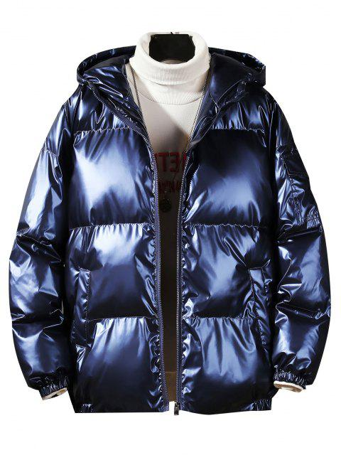 affordable Hooded Shiny Metallic Puffer Quilted Jacket - CADETBLUE 3XL Mobile