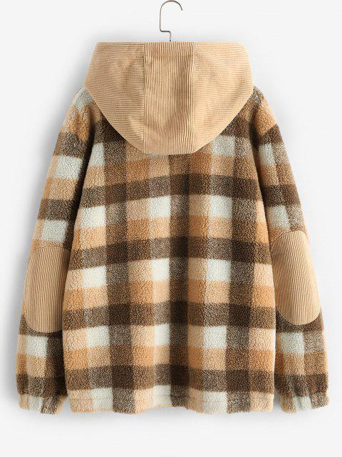 online ZAFUL Plaid Corduroy Patchwork Hooded Teddy Jacket - MULTI S Mobile