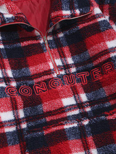 sale Plaid Letter Embroidery Teddy Sweatshirt - RED L Mobile