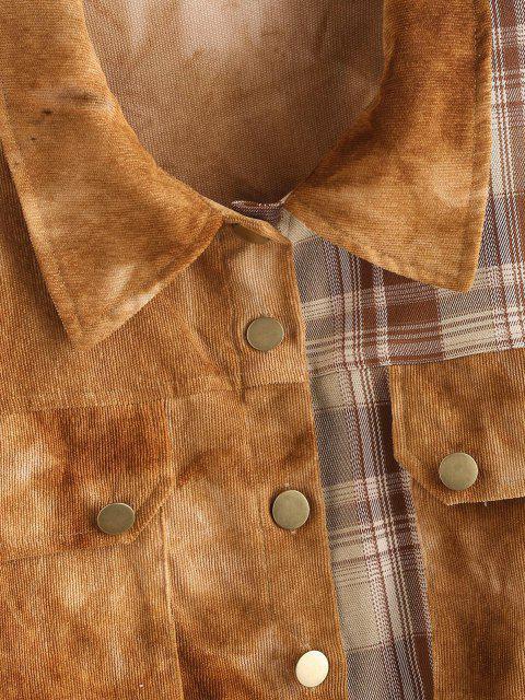 women Tie Dye Corduroy Checked Drop Shoulder Jacket - COFFEE M Mobile