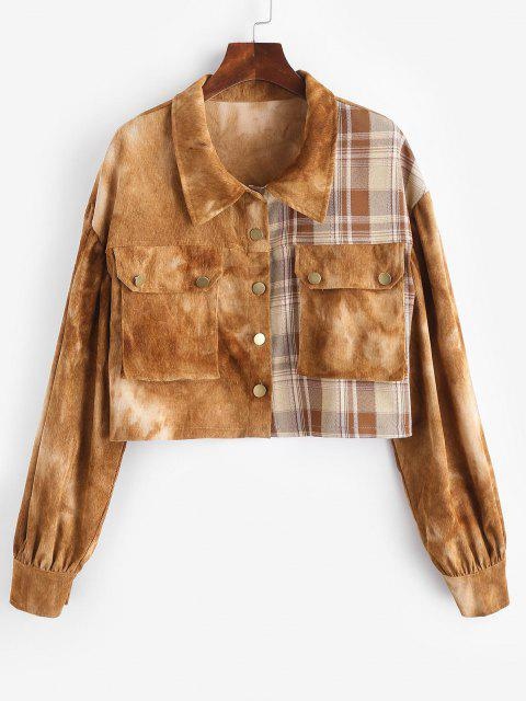 Tie Dye Corduroy Checked Drop Shoulder Jacket - قهوة M Mobile