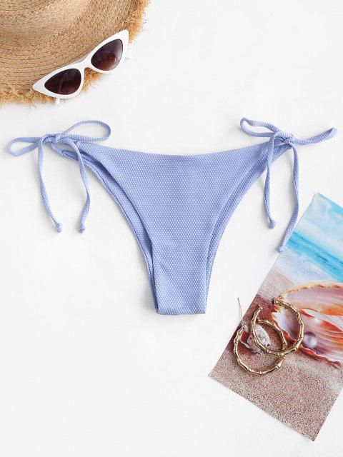 trendy ZAFUL Textured Tie Side Tanga Bikini Bottom - LIGHT BLUE S Mobile