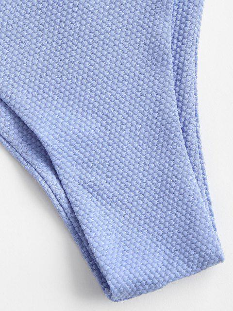 ZAFUL Strukturierte Krawatte Seite Tanga Bikini Unterteile - Hellblau M Mobile