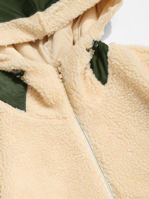 latest ZAFUL Colorblock Patchwork Hooded Teddy Jacket - LIGHT COFFEE M Mobile