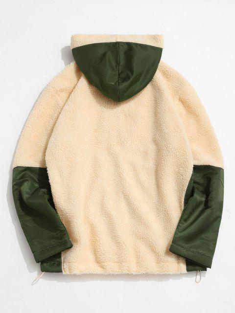 affordable ZAFUL Colorblock Patchwork Hooded Teddy Jacket - LIGHT COFFEE XL Mobile