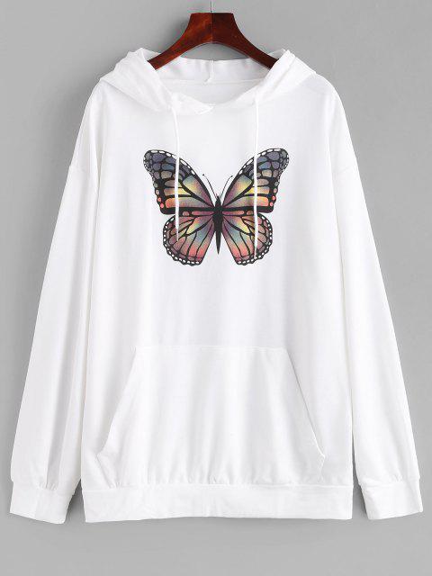 Kangaroo Pocket Butterfly Print Oversized Hoodie - أبيض L Mobile