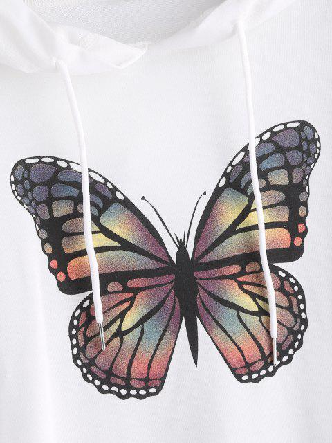 trendy Kangaroo Pocket Butterfly Print Oversized Hoodie - WHITE M Mobile