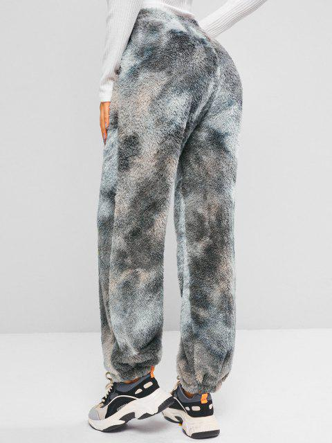 ladies Slant Pockets Tie Dye Fluffy Pants - DEEP GREEN XL Mobile