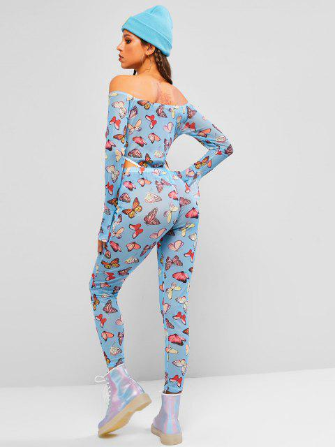 women Off Shoulder Mesh Butterfly High Cut Two Piece Set - BLUE M Mobile