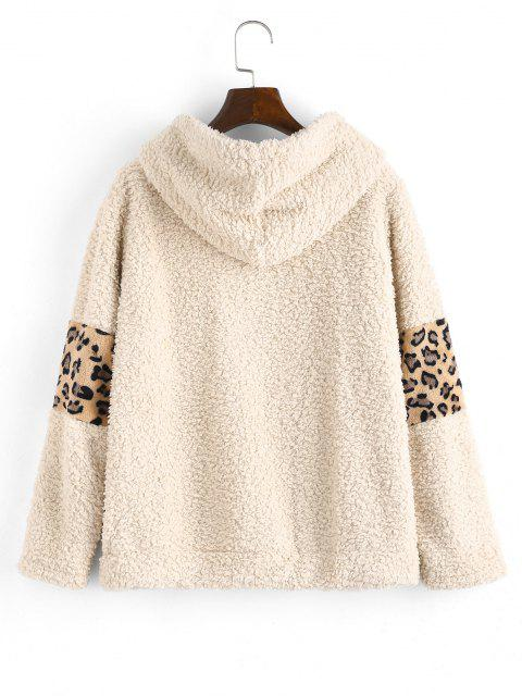 fashion Leopard Faux Shearling Pocket Teddy Hoodie - KHAKI S Mobile