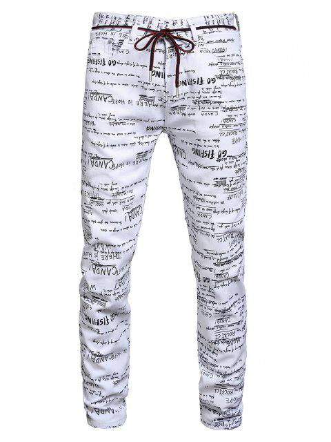 affordable Letter Graphic Long Jeans - MULTI-A 38 Mobile