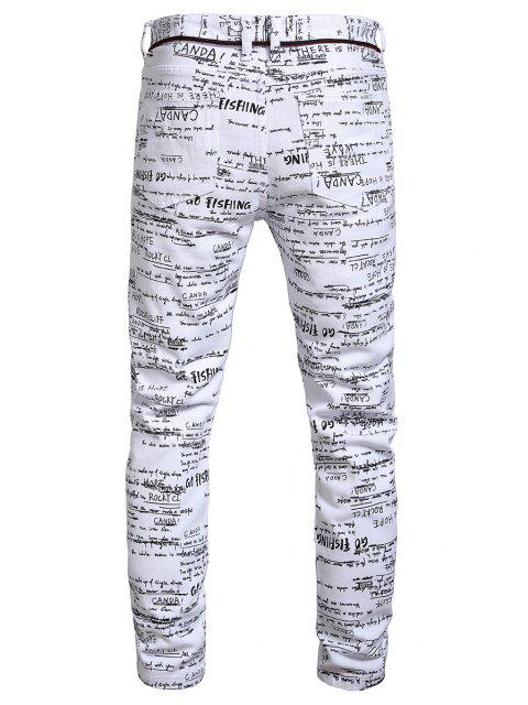 Jeans Lunghi con Grafica a Lettere - Multi Colori-A 34 Mobile