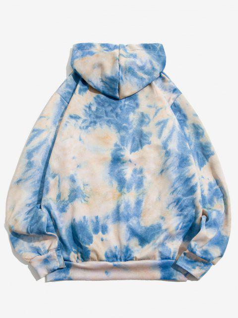 unique Tie Dye Print Front Pocket Drawstring Hoodie - BLUE IVY M Mobile