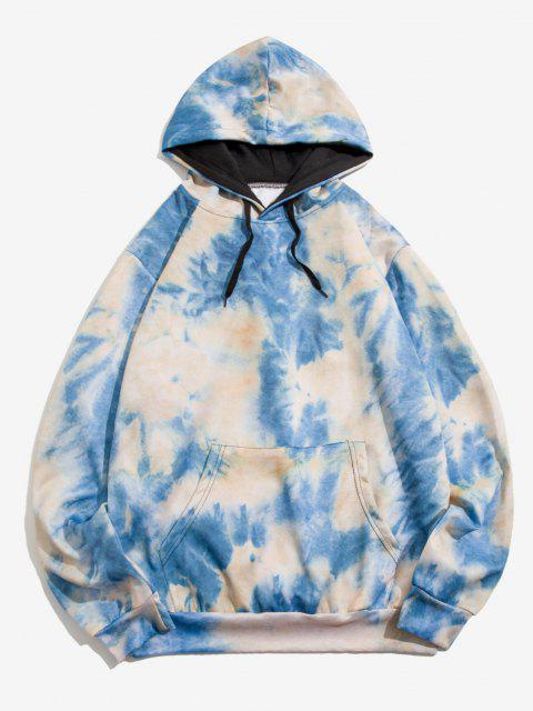 affordable Tie Dye Print Front Pocket Drawstring Hoodie - BLUE IVY 2XL Mobile