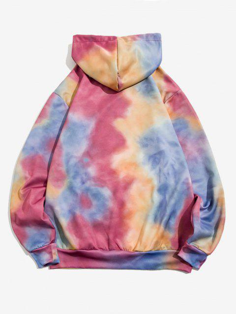 trendy Tie Dye Print Front Pocket Drawstring Hoodie - PALE VIOLET RED XL Mobile