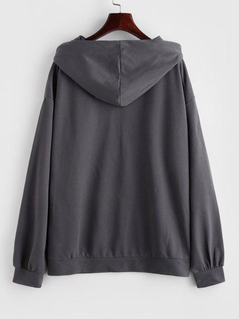 Drop Shoulder Plain Oversized Hoodie - الرمادي الداكن L Mobile