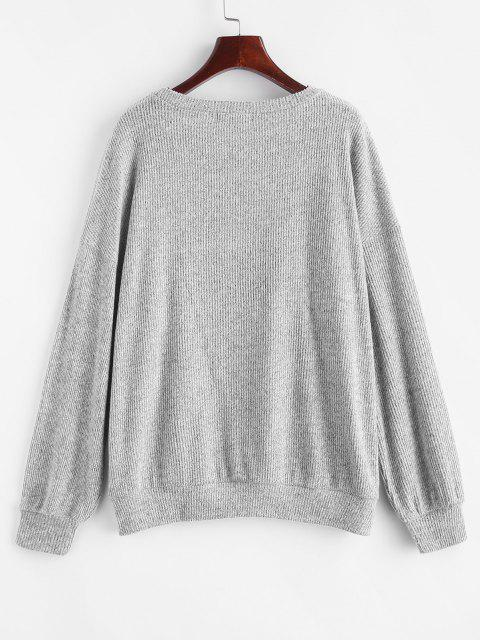 women Marled Knit Drop Shoulder Slouchy Sweater - LIGHT GRAY L Mobile