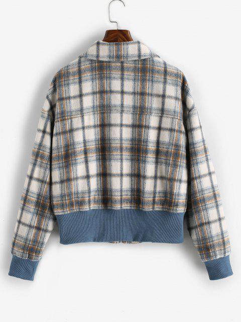 ZAFUL Zip Up Pockets Plaid Wool Blend Jacket - قهوة XL Mobile