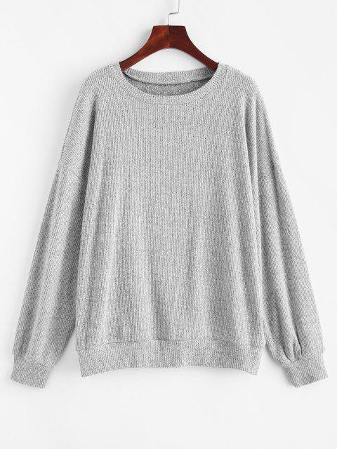 Marled Knit Drop Shoulder Slouchy Sweater - رمادي فاتح S Mobile