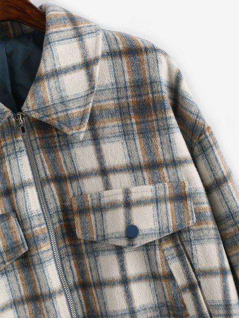 fashion ZAFUL Zip Up Pockets Plaid Wool Blend Jacket - COFFEE M Mobile