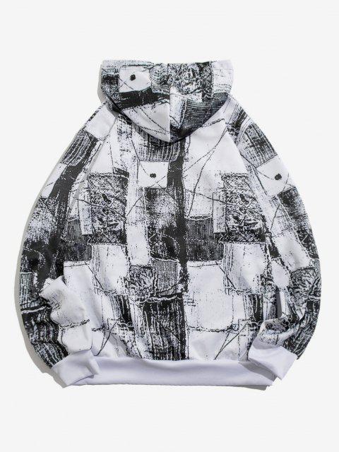 ladies Kangaroo Pocket Monochrome Print Hoodie - WHITE S Mobile