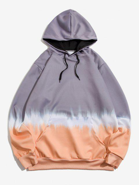 women Kangaroo Pocket Dip Dye Print Hoodie - LIGHT SLATE GRAY XL Mobile