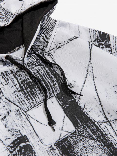 latest Kangaroo Pocket Monochrome Print Hoodie - WHITE M Mobile