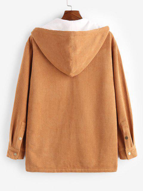sale Hooded Double Pockets Fleece Corduroy Jacket - DEEP YELLOW XL Mobile