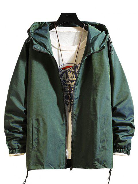 latest Toggle Drawstring Zip Front Windbreaker Jacket - GREEN XL Mobile