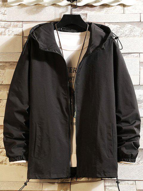 shops Toggle Drawstring Zip Front Windbreaker Jacket - BLACK M Mobile